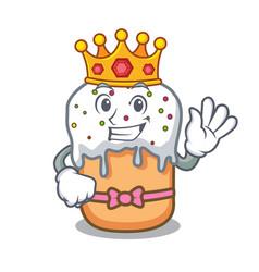 king easter cake mascot cartoon vector image