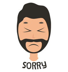 Man saying sorry on white background vector