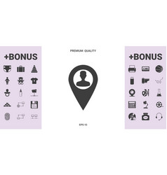 map pointer with man silhouette vector image