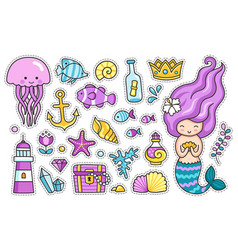 Mermaid jellyfish cute sea animals fish sea vector