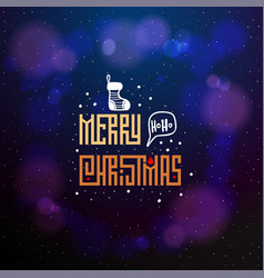 Merry christmas typographic emblem logo vector