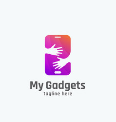 My gadgets abstract sign emblem or logo vector