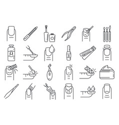 Nail manicure icons set outline style vector