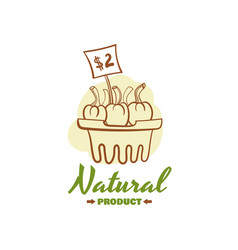 Natural product badge design vector