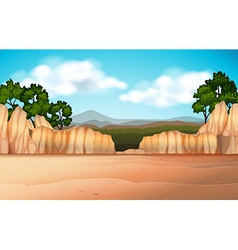 Nature scene with desert field and canyons vector
