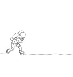 One continuous line drawing astronaut using vector