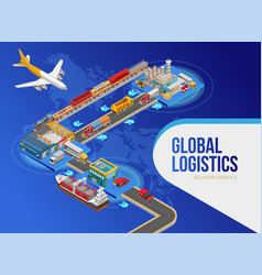 Plane near scheme of global logistics vector