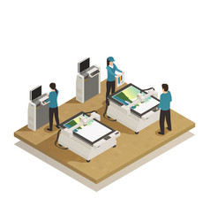 Printing house production isometric composition vector