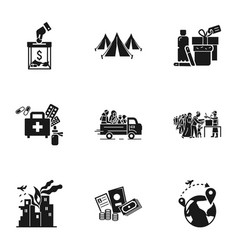 Refugees help icon set simple style vector