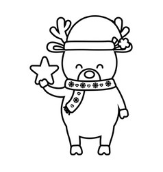reindeer with scarf and hat star decoration merry vector image