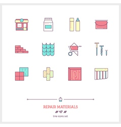 REPAIR MATERIALS Line Icons Set vector image