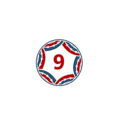 ribbon circle star number 9 vector image