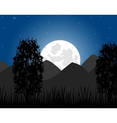 Rise of the moon on mountain vector image