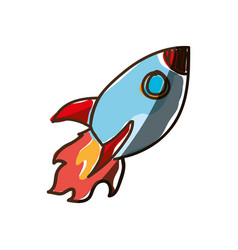 rocket cartoon doodle vector image