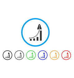 rocket success bar chart rounded icon vector image