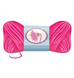 Roll of pink knitting thread vector