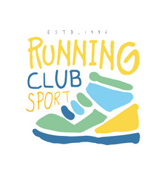 running club cport logo symbol colorful hand vector image