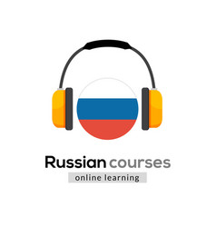 Russian language learning logo icon with vector