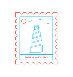 samarra mosque iraq postage stamp blue and red vector image