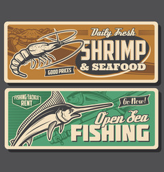 Sea fishing sport retro banners with fish seafood vector