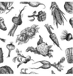 seamless pattern a various vegetables sketches vector image