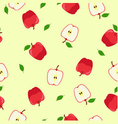 Seamless pattern with red apples and halves vector