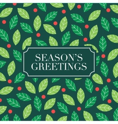 Seasons greetings card with mistletoe background vector