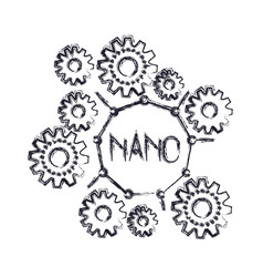 set gear machinery with nano text in center vector image
