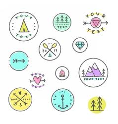 set hipster badges camping tribal etc vector image