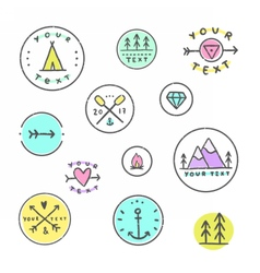 Set of hipster badges Camping tribal etc vector image