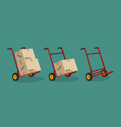set of red trolleys with carton boxes on a flat vector image
