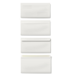 Set of white dl envelopes vector