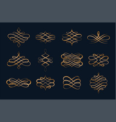set swirl calligraphic ornament decorative vector image