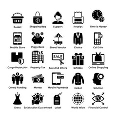 shopping icons set 5 vector image