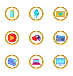 Smart device icons set cartoon style vector