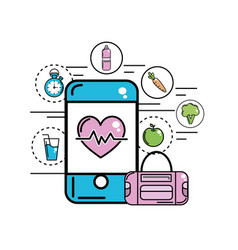 Smartphone with heartbeat inside and healthy icons vector
