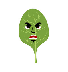 Spinach angry emoji green leaves grumpy emotion vector