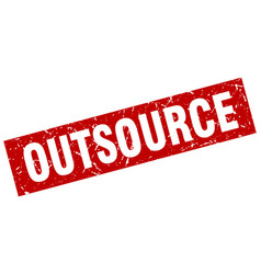 Square grunge red outsource stamp vector