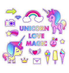 Stickers set with unicorn rainbow arrow letter vector