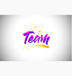 team purple violet word text with handwritten vector image