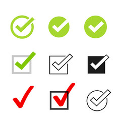 Tick icons symbol set checkmarks vector