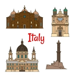 Travel landmarks of Italy thin line icons vector image