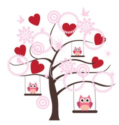Tree heart owl vector