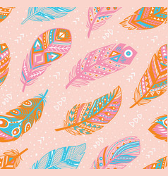 Tribal feathers pattern in blue pink and orange vector