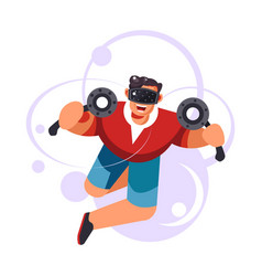 virtual reality entertainment man wearing vr vector image