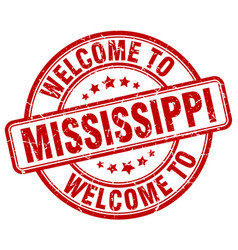 Welcome to mississippi red round vintage stamp vector