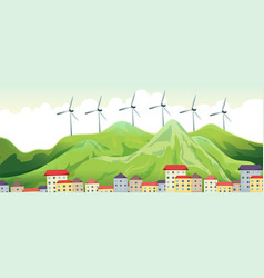 wind turbines on top of mountains vector image