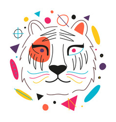 with abstract colorful tiger head yellow vector image
