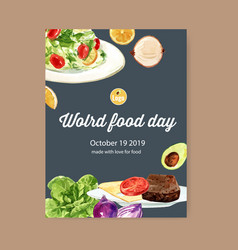 World food day poster design with beef steak vector