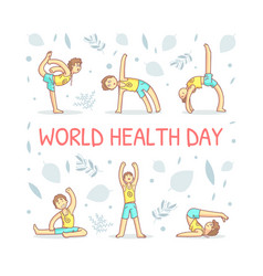 World health day banner template with guy vector